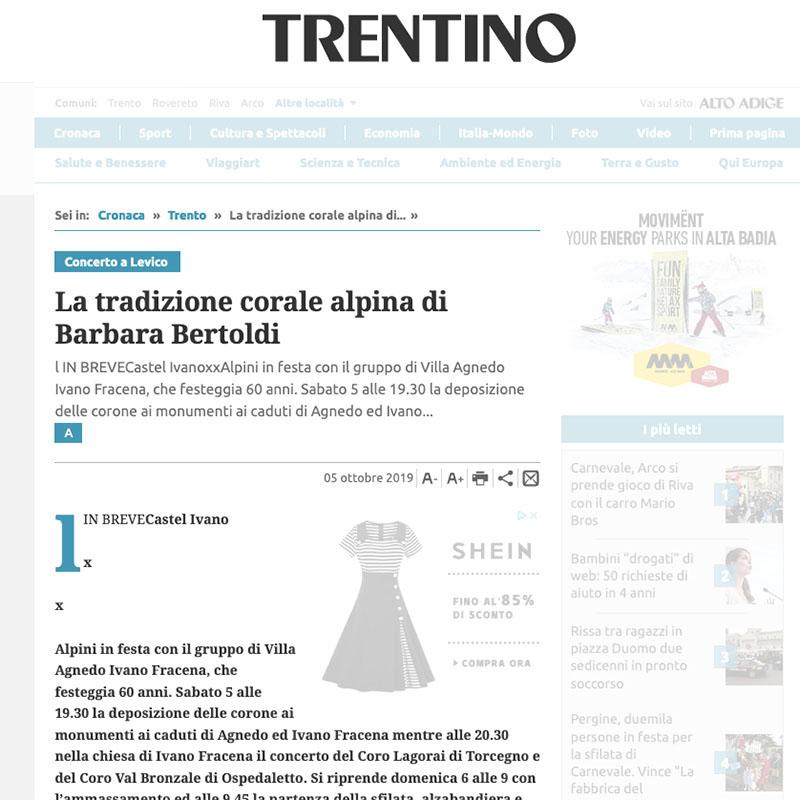 Giornale Trentino 05/10/2019