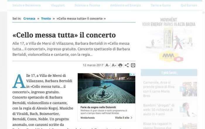 Giornale Trentino 12/03/2017