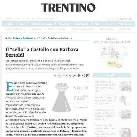 """Il """"cello"""" a Castello con Barbara Bertoldi"""