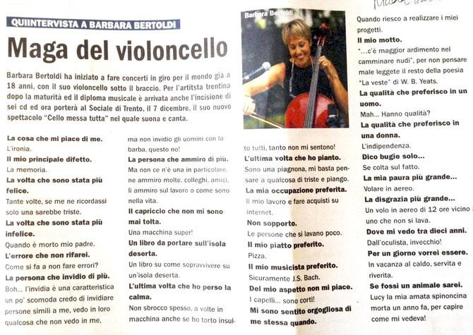 Barbara Bertoldi, maga del violoncello