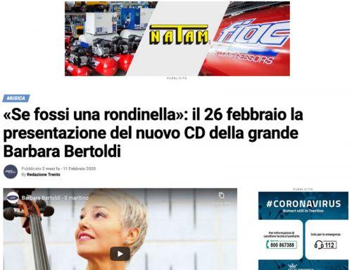 «Se fossi una rondinella»: il 26 febbraio la presentazione del nuovo CD della grande Barbara Bertoldi