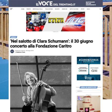 'Nel salotto di Clara Schumann': il 30 giugno concerto alla Fondazione Caritro