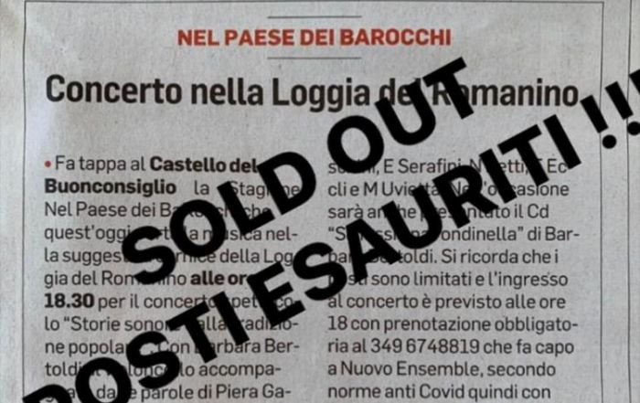 Sold out 23 agosto!