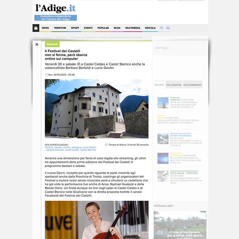 L'Adige 30/10/2020