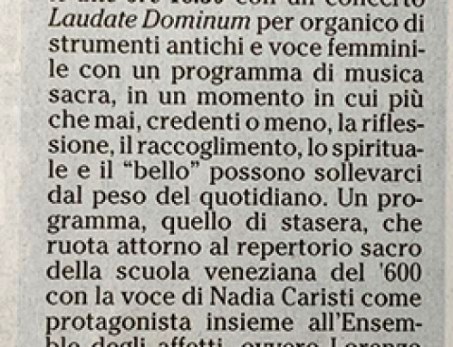 Musica sacra con Caristi omaggio di «Lucilla May»