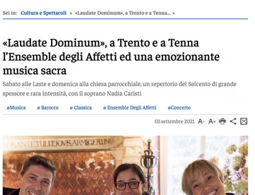 «Laudate Dominum», a Trento e a Tenna l'Ensemble degli Affetti ed una emozionante musica sacra